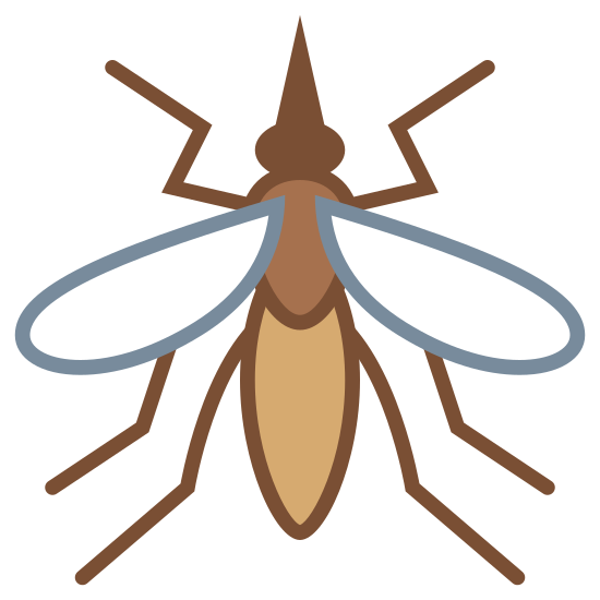 Komar icon. An mosquito with three main body parts and three legs on each side of the body. It has two wings and it also has a sucker coming out of the head like a needle.