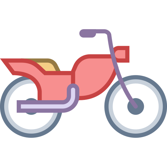 Motorcycle icon. The icon is a motorcycle.  The view is from the side.  You see the seat in the middle and two small tires on either side.  The handle bars come up just over the seat of the bike.