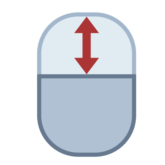 Przewijania za pomocą myszy icon. This is a picture of an oval with a line splitting it in half horizontally. On the upper side of it is a double sided arrow pointing up and down. The bottom part is blank.