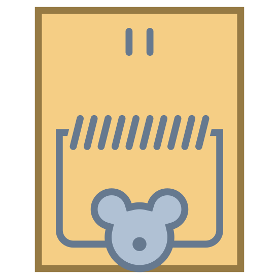 Pułapka na myszy icon. This icon represents a mouse trap. It is a rectangle shape with rounded edges. At the bottom center is a small face shape with a round circle for a nose. Inside the rectangle is a line of sideways marks over the face and a round half rectangle around it.
