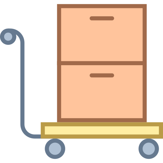 Przewieźć wózkiem icon. It's an icon of a hand-trolley manuevering two stacked boxes. The trolley is facing the right, as though it's being moved in that direction, and it's leaning a bit backward as though somone is pushing it forward.