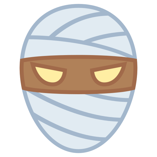 Mummy icon. This image is of a face shape with two eyes and bandages covering only the top and bottom of the face. the eyes are exposed.