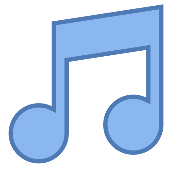 Music icon. The icon is a classic musical notation that one would find on a musical staff composition. In this case the musical note is an singular eighth note, also called a quaver.