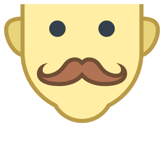 Mustache icon. This is a mans face. There is no hair or top of the head, it is just from just above the ears down to the chin. The man has 2 large black eyes and a wide mustache.