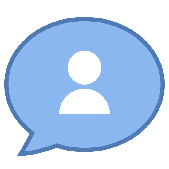 New Topic icon. The my topic icon is a speech bubble and inside the speech bubble there is an outline of a person. The outline is in a shape of a man's head, neck, and his shoulders.