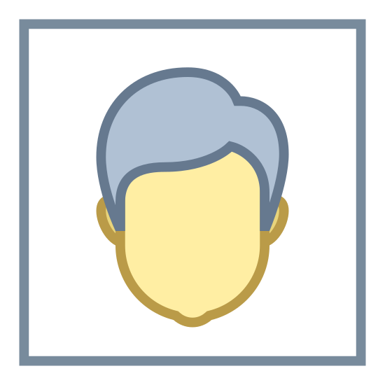 Name icon. The icon is shaped like a square with rounded edges at all four corner. Inside of the square is the silhouette shape of a male person. The head of the silhouette starts almost at the top of the square and the shoulders end at the bottom.