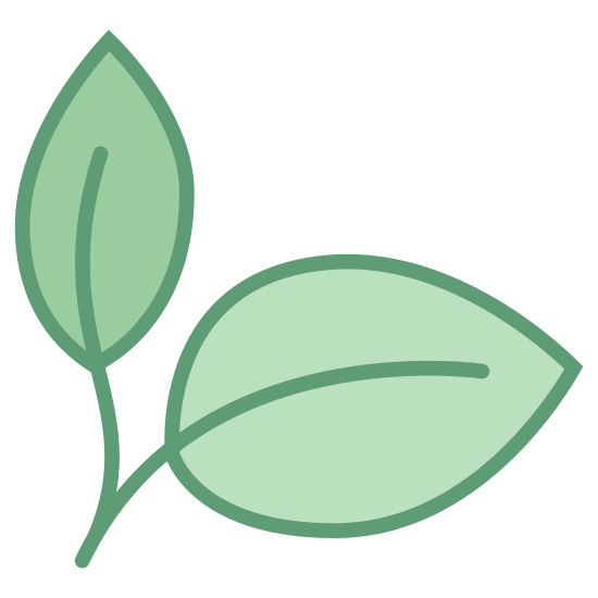 Natural Food icon. It a logo of two leaves.  One leaf is pointing vertical while the other is leaning to the right.  The leaves are close to one another like in a bunch but are not touching each other.