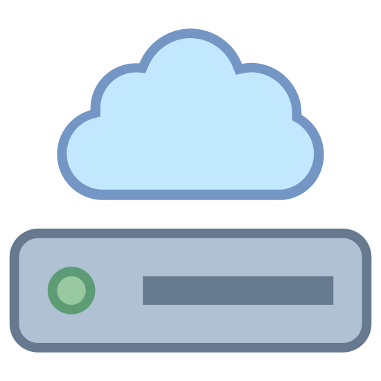 Network Drive icon. It's a logo of Network Drive reduced to an image of a cloud overhead of a drive. It is a drive that can be used to store information over the internet instead of on a hard drive. It looks like the network drive logo on my computer.