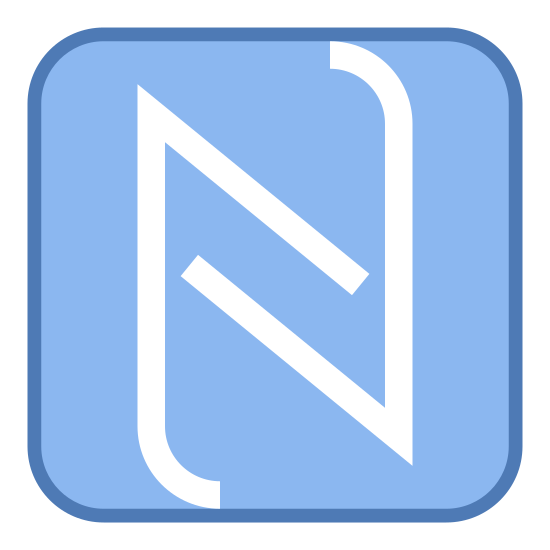 Logo NFC icon. The icon is a simplified representation of the logo that represents NFC technology. It is a rounded square with an incomplete, stylized N in the center. NFC stands for Near Field Communication, a technology allowing phones to be placed close to each other and exchange data.