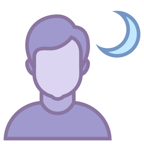 Portret nocny icon. It is a simple representation of a night landscape. the top right has a crescent shaped moon and next to that is a circle. Beneath the circle is something that resembles a hill. it has a straight line for a base and a shape that looks slightly like the letter M attached to it
