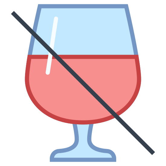 Kein Alkohol icon. This is a drawing of a wine glass that is most of the way full. Going from top left to bottom right there is a line going across the wine glass probably to say no alcohol is allowed.