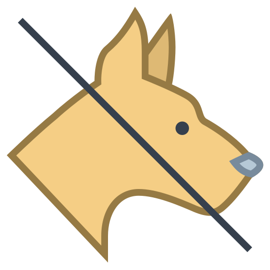 Żadnych zwierząt icon. There is a single canine animal, what seems to be a dog but what could also be a wolf, with a line going through it's head that seems to be crossing it out.
