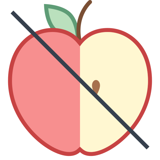 No Apple icon. The icon is a depiction of and apple sliced in half with two seeds, stem, and a leaf visible. The apple has a line drawn diagonally through it's center.