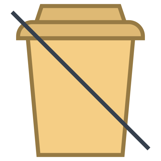No Beverages icon. This icon represents no beverages. The middle of the icon has a cup with a top with an elevated top rounding down into a smaller, slimmer bottom. Through the cup is line drawn from the left top side to the bottom right side.