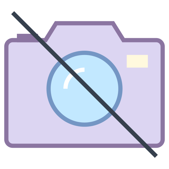 """No Camera icon. An outline of a traditional camera, slashed through diagonally by an unbroken line in the universal symbol for """"no"""", or not allowed. Reminiscent of the icon of a camera used on a phone, but struck through."""