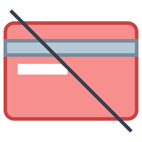 Żadnych kart kredytowych icon. The no credit card icon is an icon of a credit card with a slash across the middle. The credit is a rectangular shape and has two lines close to the top for the magnetic strip. The line is also a diagonal line, which means no.