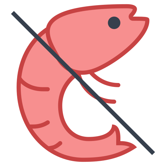 No Crustaceans icon. This icon is depicting a shrimp or some other type of shellfish with a line drawn through it. The shrimp had two legs and three lines drawn across its abdomen.