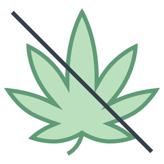 No Drugs icon. This icon is depicting the leaf of a marijuana plant with a line drawn through it. The leaf is perfectly symmetrical and contains seven segments that are rounded and pointed towards the end.