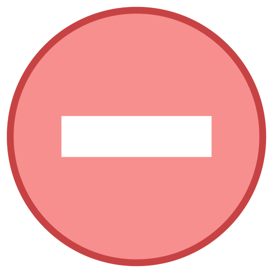 Zakaz wjazdu icon. It's a logo of No Entry reduced to a rectangle enclosed by a circle. The logo is placed in a rounded circle. Looking like the no entry sign seen on the roads.