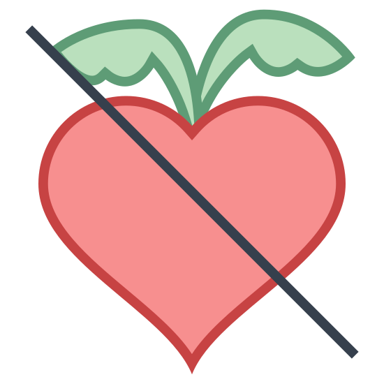 Без фруктозы icon. The icon is a picture for the logo of No Fructose. The icon shows what appears to be a radish shaped object. The icon has two leaves extending from the top of the radish shaped object. There is a slash through the entire icon.