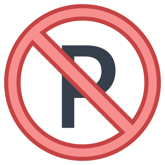 Zakaz parkowania icon. This no parking image had the capital letter 'P' surrounded by a square box, but the capital P has a horizontal strike-through going through it.