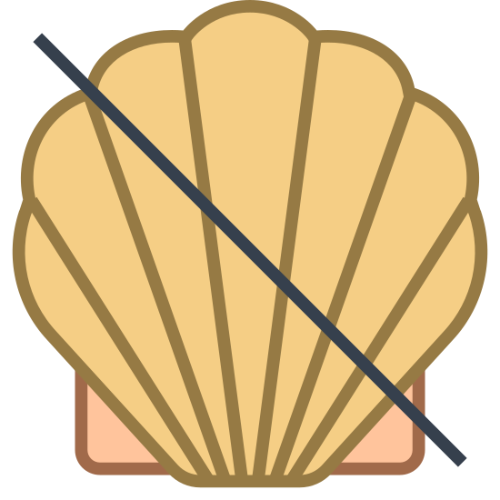No Shellfish icon. This is a picture of a seashell with a line going across it in the center. it is showing that fish is not allowed. the seashell has six sides and two smaller ones at the bottom.