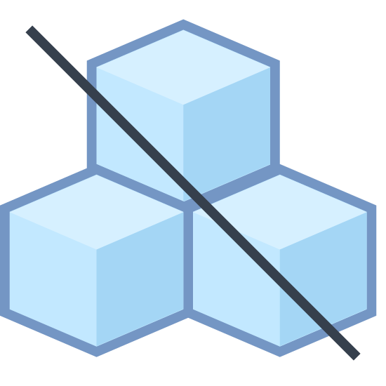 Sugar Free icon. The icon is a depiction of 3 cubes with one stacked on top of two of them. The cubes have a Diagonal line running through them from upper left to lower right.