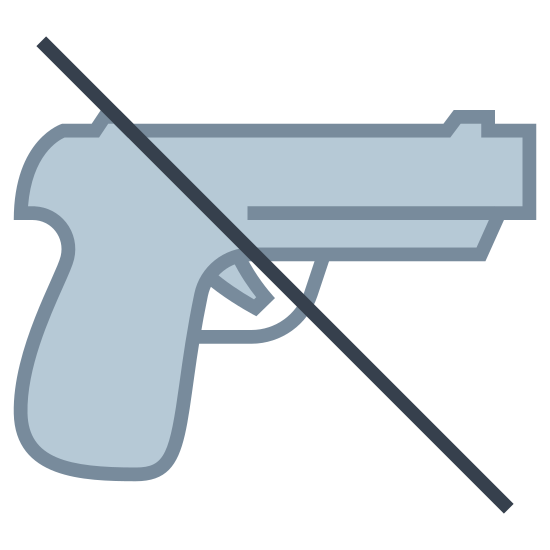 No Weapons icon. The icon shows that weapons are not allowed. It is a handgun with a diagonal line going through it. The line goes from the top-left of the gun to the bottom-right.