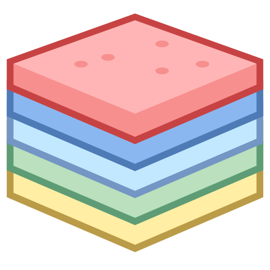 Nonya Kueh icon. This is a picture of four square shapes stacked vertically on top of one another. on the very top layer are five dots scattered about. the cube is facing you at one of it's corners