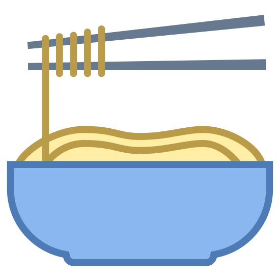 Makaron icon. This icon represents noodles. At the bottom of the icon is a half circle representing a bowl. It has two lines at the top representing chop sticks. The chop sticks have lines on the left side with one leading to the bowl representing the noodles.