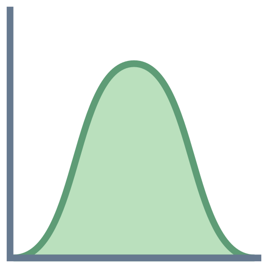 Histogram rozkładu normalnego icon. There is a large L shaped line and along the bottom line starts a curved line swooping upwards than back down. It appears to be the basis of a graph.