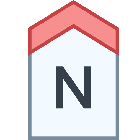 Norte icon. This image is depicting a tag shaped rectangular object pointing upwards with a capital 'N' in the center of it. The rectangle forms a point going upwards but does not have a bottom to close the shape.