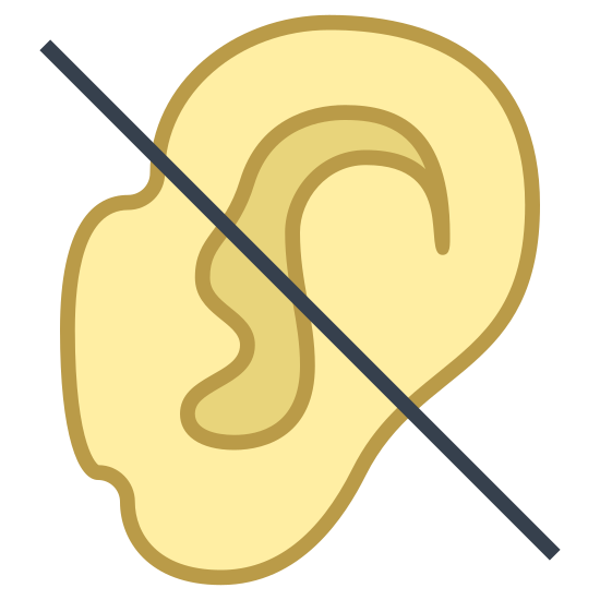 Deaf icon. It is a human ear with the person's head not visible with a diagonal line across it. It can symbolize a lack of audio or auditory ability. There is no circle around the ear and the line cuts it in half.