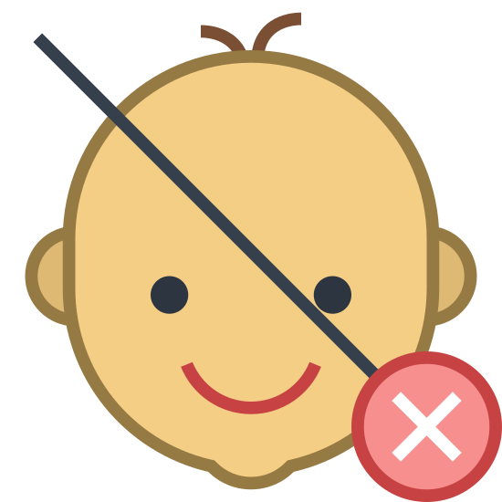 Not Suitable for Children Under Age X icon. The icon is a logo for not suitable for children under age x. The icon is a picture of a babies face, with a slashed line through the entire babies face. There is an X with a circle around it to the lower right of the babies face.