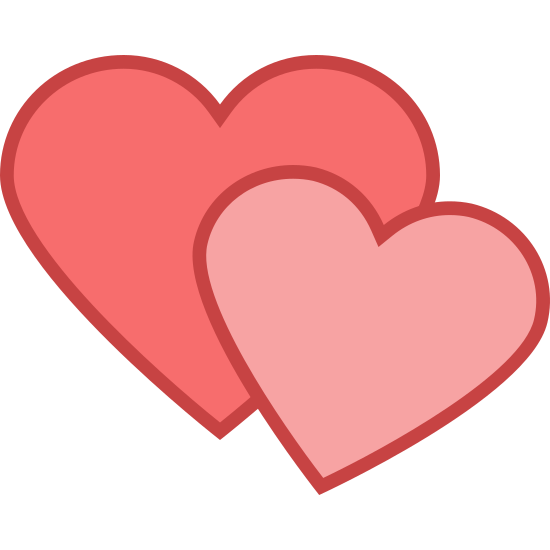 Romance icon. The icon shows two heart shapes. One is larger standing upright behind a second one that is tilted down and smaller in size. The hearts would represent a lowing emotion towards something.