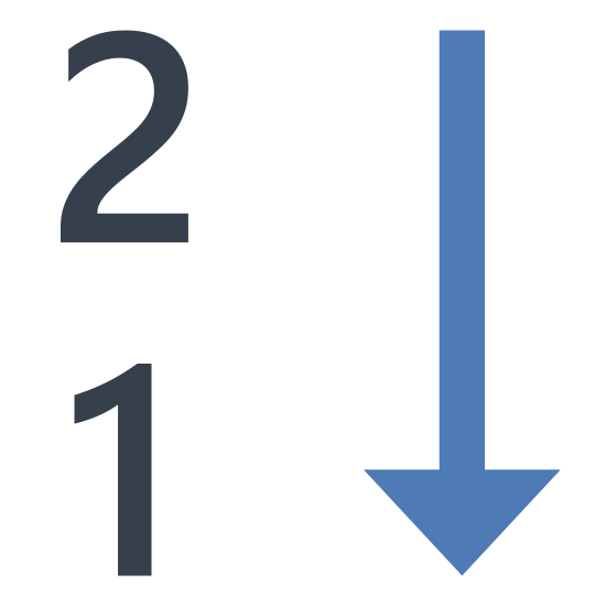 Reversed Numerical Sorting icon. There are two number which are one and two and are placed vertically with number two on top and number one right below it and also there is an arrow pointed towards south or downwards which is on the right side of these two numbers.