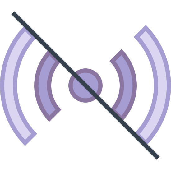 Tryb offline icon. It's an image of a long diagonal line from the top left to the bottom right. It's cutting a signal image in half diagonally. The signal image is a small circle in the middle with two partial curved lines emanating from each side.