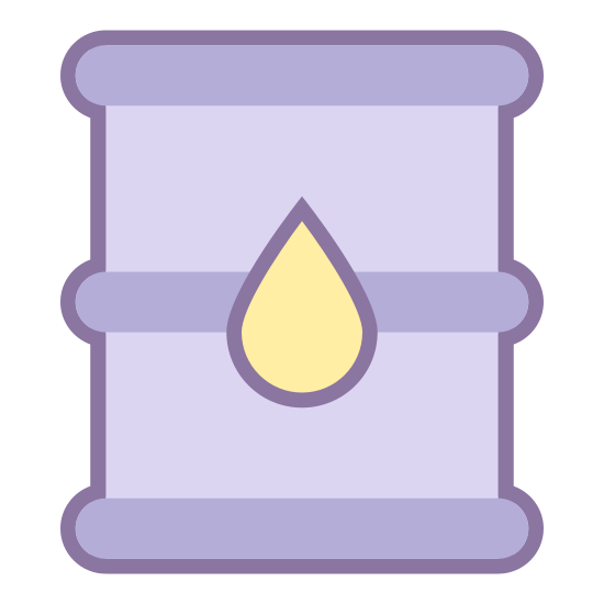 Oil Industry icon. This icon is a simple drawing of an oil barrel. There is a small droplet on the middle of the barrel.