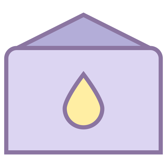 Oil Storage Tank icon. A rectangle with a triangle on top of the rectangle. There is a tear drop in the rectangle. The tear drop is in the center of the rectangle. The triangle is pointed in the up direction.