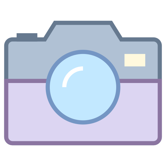 Vintage Camera icon. This is a picture of an antique camera that is facing toward you. It has a small stand on bottom with three legs, and a large lens in it's center. There's a tiny curved cover on top, and a larger base that holds the camera.