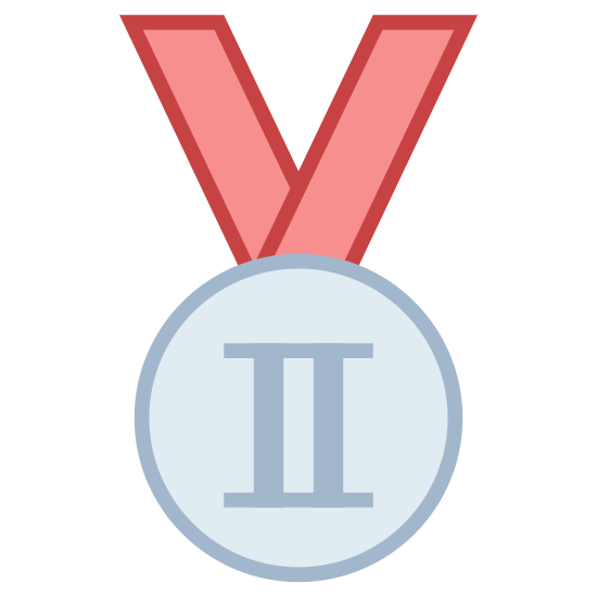 Silver Medal icon. This icon represents a medal for silver in the Olympics. There is a medal on a ribbon that is made up of two circles with the roman numeral II in the center.