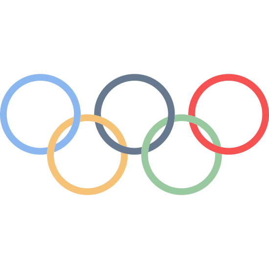 Koła Olimpijskie icon. This is an image of five circle like rings all linked to each other. Their are three on the top and two on the bottom.