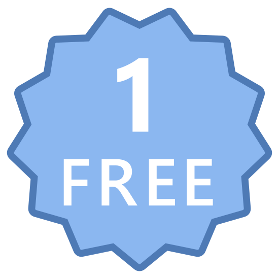 One Free icon. It is representing the idea of one free. It is made like a medal in the shape of a circle with all kinds of design around it. It looks like an award you would get for winning.
