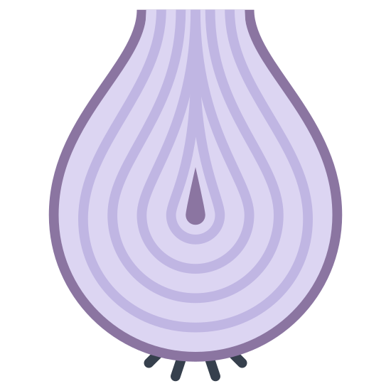 Cebula icon. This is an icon for an onion. The onion has layers and layers that is revealed. There appears to be five layers on the onion and on the outside of the onion there appears to be the root of the onion.