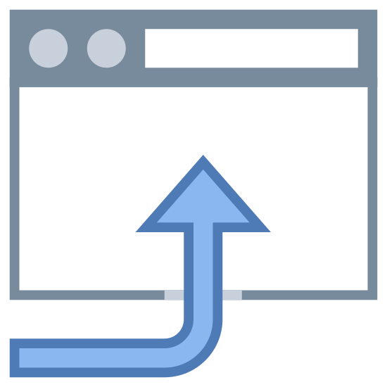 Otwórz w przeglądarce icon. This is a picture of a browser window. It's blank for the most part, and on top has a bar with two black circles and a rectangular bar on the right side of that. There is a large curved arrow pointing into the box, pointing upwards.