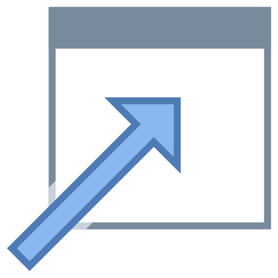 Otwórz w oknie icon. The object is a box with a line across the top so that it is two spaces with the one on top being very narrow. There are three dots on the left side of the top portion. There is an arrow starting at the bottom left corner of the large portion of the box and it points diagonally to the top right corner of the box.
