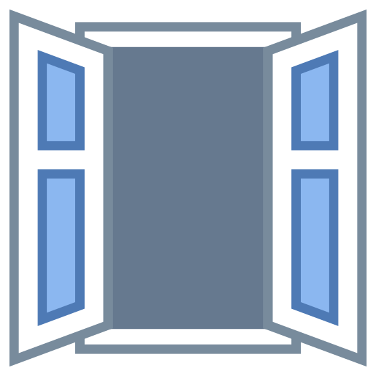 Ventana abierta icon. This icon represents an open window. It is a large square with four smaller sqaures on each side. The sqaures on the side are one big on the bottom and one smaller one on the bottom to represent shutters.
