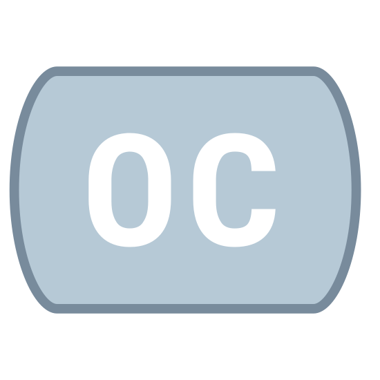 """Opened Captioning icon. The opened captioning icon is two letters, of the same height, placed next to each other. An """"O"""" is on the left side, and a """"C"""" is to the right of it."""