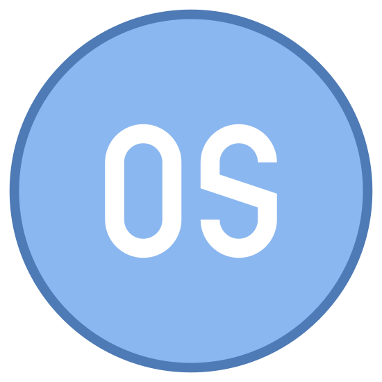 Operating System icon. There is a circle. inside of the circle there are 2 letters. the 2 letters are O and S and they cover the majority of the inside of the circle.