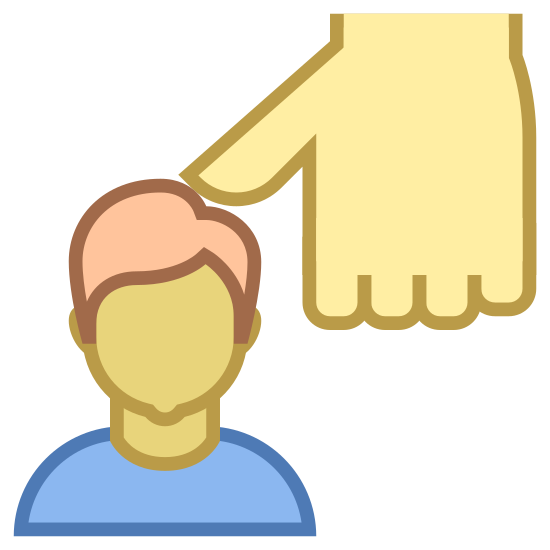 Oppression icon. The icon is an outline of a man's head with an outline of a man's hand. The thumb of the hand is pressing down onto the top of the head.